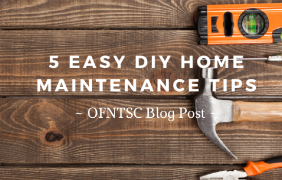 "Poster with tools on a table and the title ""5 Easy DIY Home Maintenance Tips"""